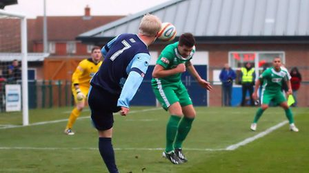 LUCKY BREAK: Lewis Hilliard's shot takes a deflection of the Bedworth defender and goes in. Picture: