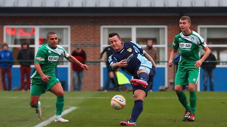WELCOME BACK: Ben Mackey scores on his return from Suspension in St Neots' 3-2 win over Bedworth Uni
