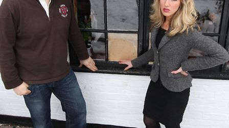 Adam Jordan and Serena Saunders are pictured by the broken window. Sheene Mill in Melbourn on statio