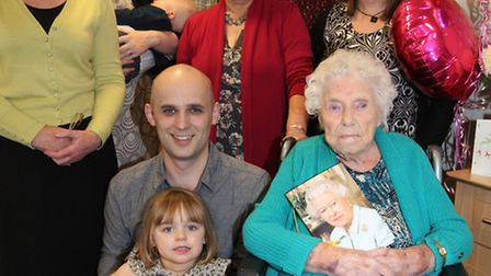 Kathleen Willis celebrates her 100th Birthday with her family, Myra Darling, Daughter, Harriet Cook,