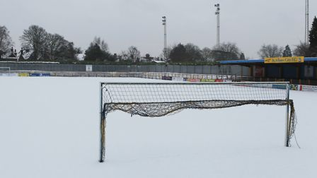 A snow covered pitch at Clarence Park