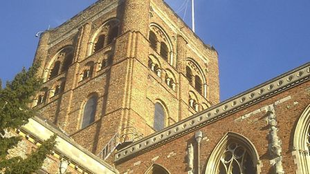 Steeple jacks fixed the problem pennant at St Albans Abbey