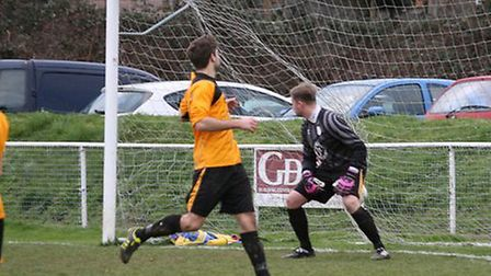 Dave Parkinson scoring his first goal. Pictures by Jim Whittamore
