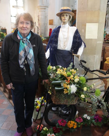 Jacqui Dodds with her flower display