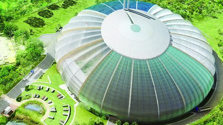 An artist's impression of the New Barnfield incinerator from the air