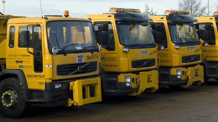Some of the new fleet of gritters at Cambridge County Council's Witchford depot