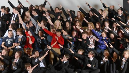 Meridian pupils celebrate their maths results Usain Bolt style