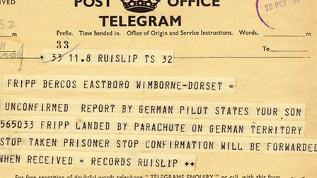 Telegram sent to Alfie Fripp's family after his capture
