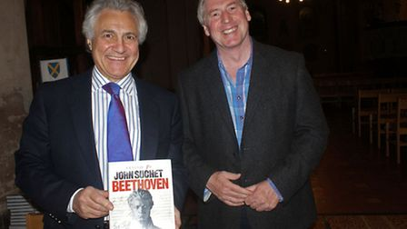 Musical Director, David Temple (right) with John Suchet of Capital FM at ther last concert in St Alb