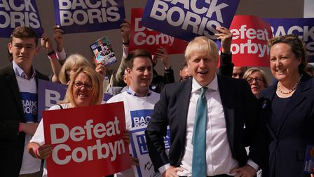 Conservative party leadership contender Boris Johnson with supporters. Photograph: Owen Humphreys/PA