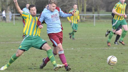 CUP SUCCES: Action from Eaton Socons 7-2 win over Great Paxton in the quarter finals of the Hunts FA