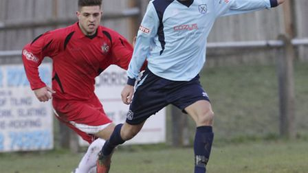 St Albans City's Josh Urquhart chases down an opponent. Photo: Harry Hubbard