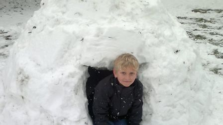 Ashley Campbell's (9) igloo from Beaumont Avenue, St Albans. Built with the help of a xouncil recycl