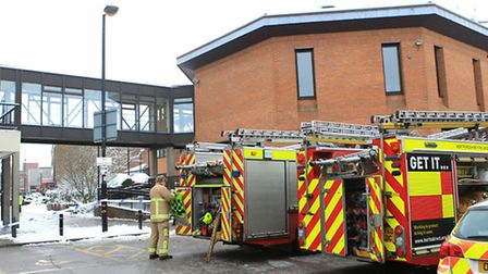 Firefighters outside the St Albans Council offices