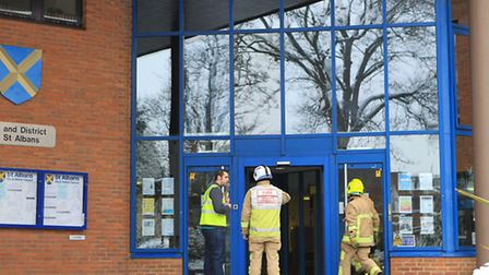 Firefighters go into the St Albans Council offices