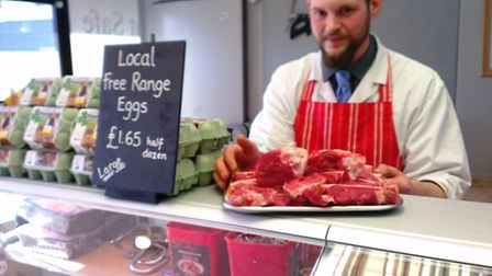 Kris Ransom, manager at Knibbs butchers in Royston