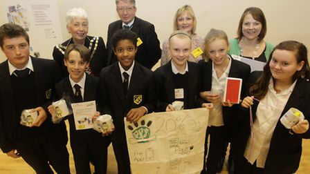 Young Enterprise day at Meridian School, Royston. Pictured is Lindsay Davidson, Mayor, Tony Hunter,