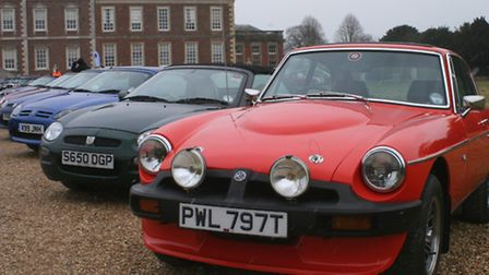 MGs parked outside Wimpole Hall (Pic: Clive Porter)