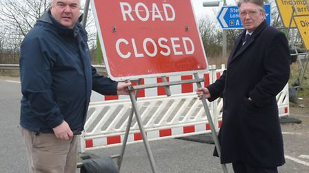 Royston MP Oliver Heald and county councillor Tony Hunter at Letchworth gate