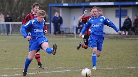 Martin Collins scores London Colney's first goal against St Margaretsbury.