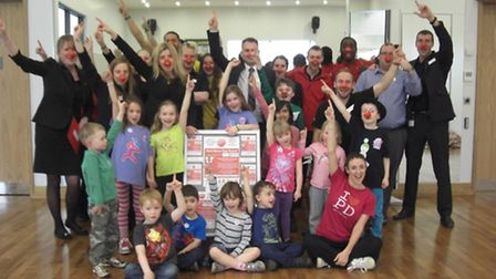 Popdance Kids and the staff at Everyone Active prepare for the Red Nose Day event