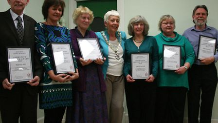 Royston's Mayor, Cllr Lindsay Davidson (centre) with the Community Award winners
