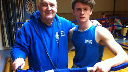 GOOD TIMES: Cambs Police coach Mick Taylor with the new English Scoolboy Champion Ryan Adair. Pictur