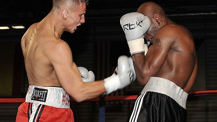 WIN NUMBER 2: Tommy Martin from St Neots in his fight with Jason Nesbitt at the Peterborough Arena.