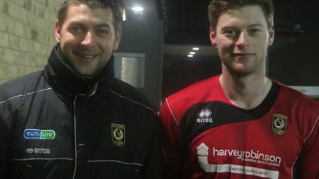 WELCOME: Ricky Marheineke and new signing Charlie De'ath before the defender made his Huntingdon Tow