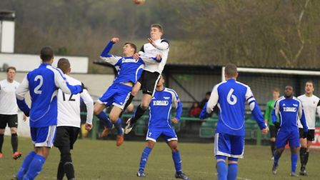 Aerial battle as North Greenford United host Royston Town. Picture by Kevin Richards