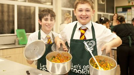 Pupils at Marlborough Science Academy win Let's Get Cooking Golden Spoon award.