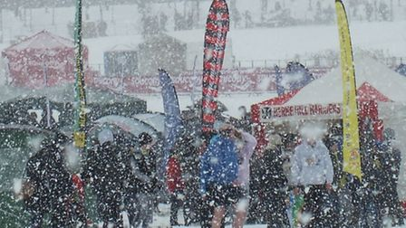 SNOW JOKE: But the racing went on in Sunderland where members of Hunts AC took part in the National