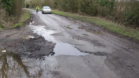 Problematic potholes in Therfield