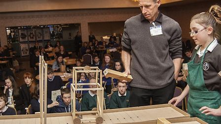 Greneway School's model gets a test run on the ramp during the Technology Tournament.
