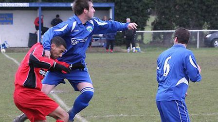 Action from London Colney's 2-2 draw with Harefield United.