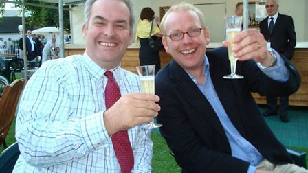 Paul McMullen (right) with St Albans tourism manager and friend Charles Baker