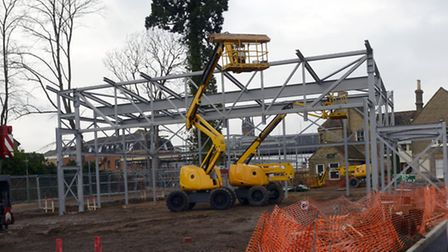 The steels have been put in place for St Neots' long-awaited cinema