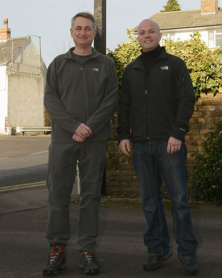 Paul Dyer, left, and Phillip Malley, right, who are due to embark on a trek to Everest Base Camp.