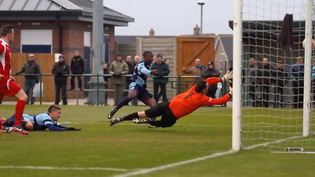 SO CLOSE: Kyle Assante just misses the post with this last ditch attempt on Saturday. Picture: Andy