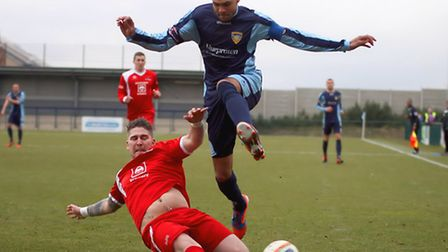 SKIP STEP: Dan Jacob skips a challenge against Frome Town on Saturday. Picture: Andy Wilson.