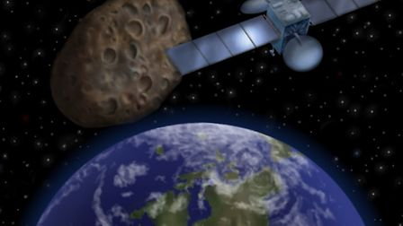 Asteroid passing in between Earth and communication satellites