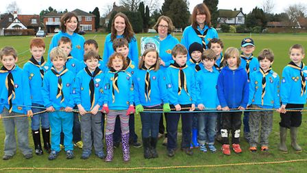 Redbourn Priory Beaver Scouts show off their attmept to break the World Record for the longest chain
