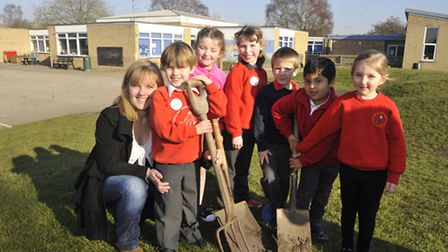 Eastfield School, St Ives, fundraise for new playground, (left) Chairman of ESA Zoe Weaver, with pu