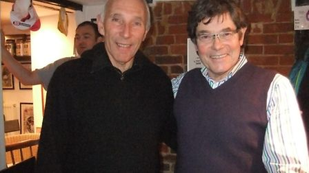 ITV cycling commentator, Phil Liggett, left, visited Redbourn. He is pictured here with the manager