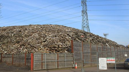 Huge pile of wood at the WRS site on Appsond Lane