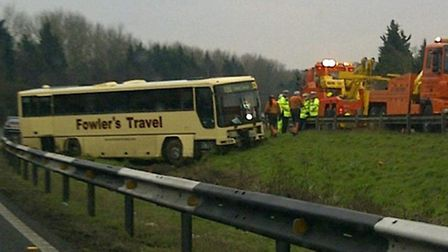 A coach carrying rail passengers crashed on the A1 near Buckden. PictureL Simon De Havilland.
