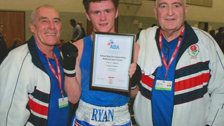 TEAM WORK: Ryan Adair, Cambs Boxing Club's young hope, Mck Taylor, left, and Gordon Grant.