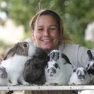 Caroline Collings with her rabbit's