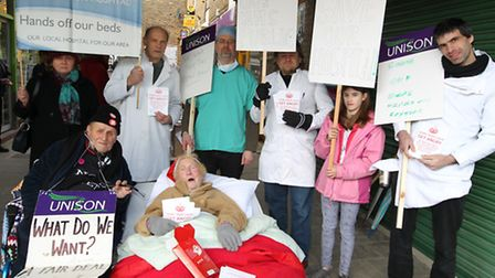 Royston Hospital Action Group organised a protest in the town centre on Saturday. Pictured is Terry