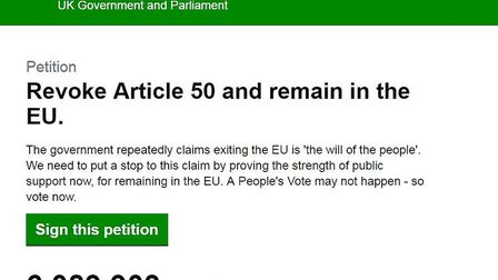 The revoke Article 50 petition on the e-petition website.